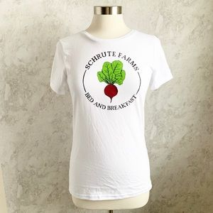NEW Schrute Farm Bed and Breakfast White Tshirt m